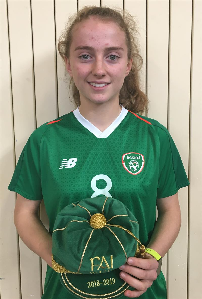 AoibheannClancy represents Ireland in U17 Soccer.JPG