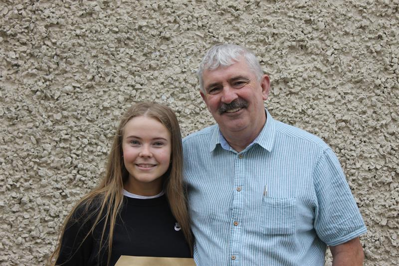 Pres Thurles student, Aoife Dunphy, who achieved 625 points in her LC with Jim Ryan.JPG